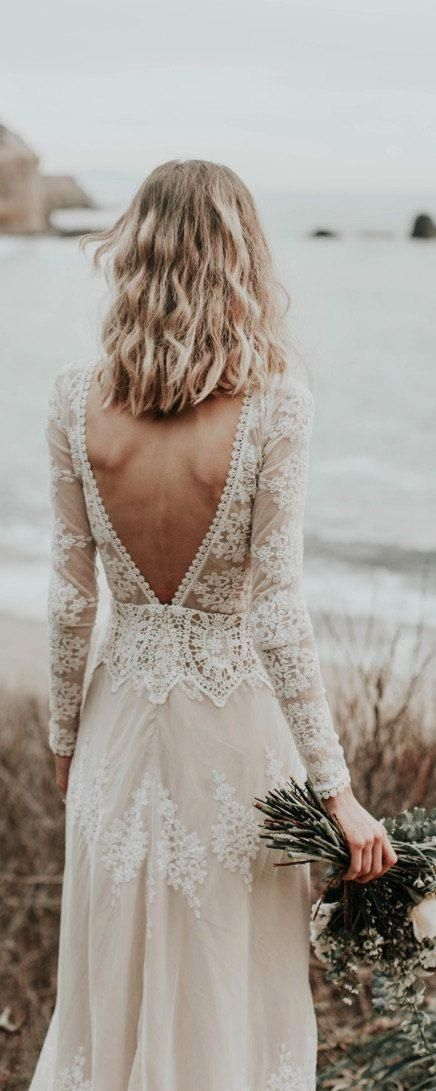 Lisa Lace Bohemian Wedding Dress | Cotton Lace with OPEN BACK and SILK liner | Handmade | Long Slee