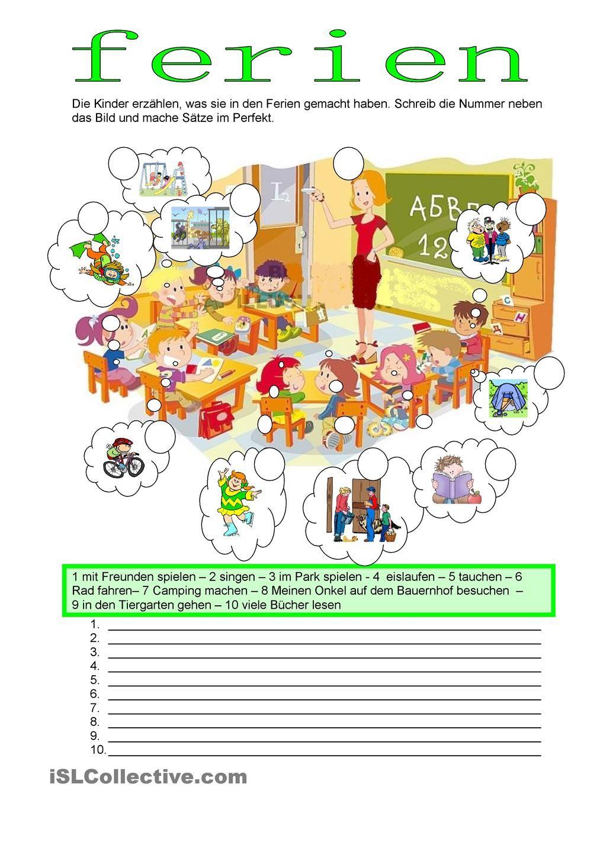Perfekt - Freizeit | german for kids | Pinterest | Ferien, Deutsch ...