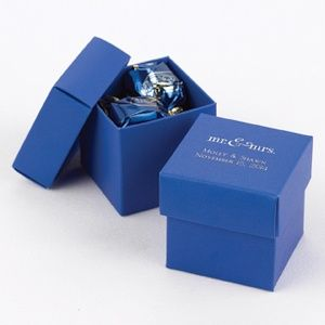 A classier version of the favor bag: Royal Blue Personalized 2-Piece Favor Boxes from Wedding Favors Unlimited (Set of 25 for $29)