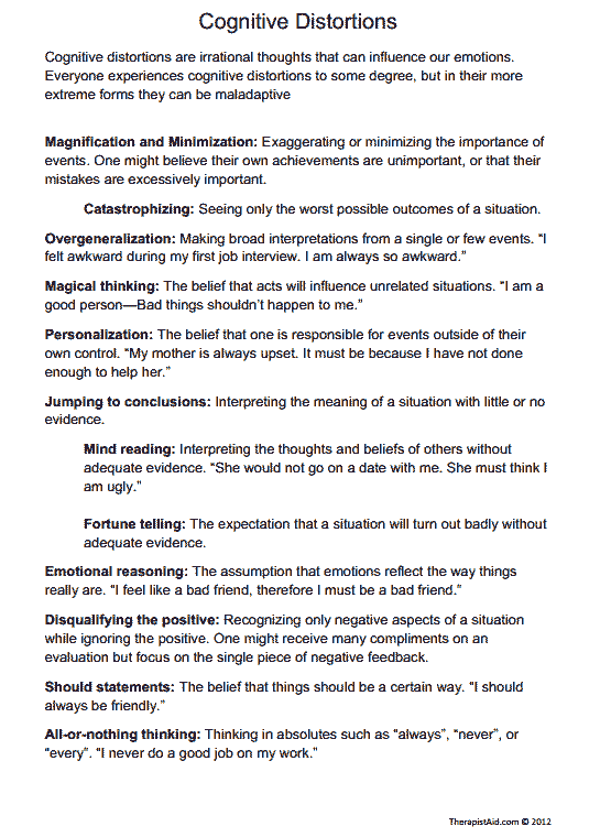 Cognitive Distortions (Worksheet | Work | Cognitive distortions ...