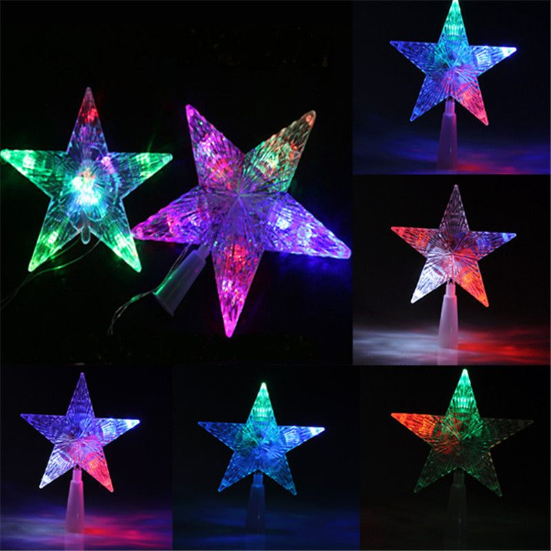 Top Sale New Changing Colorful Christmas Tree Topper Star Light LED