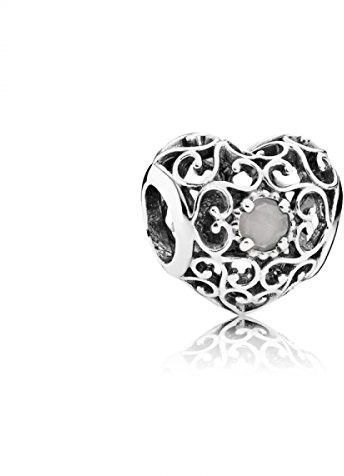 076428125 Pandora June Signature Heart, Grey Moonstone Charm - One Size | Products