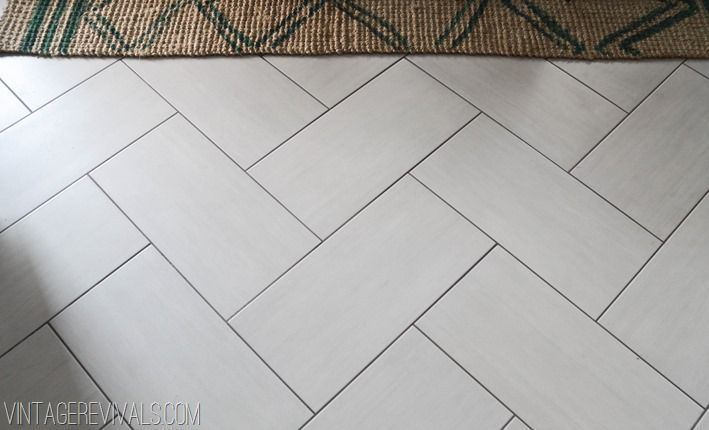 12x24 Tile Herringbone Pattern Charcoal Grout Floor Patterned