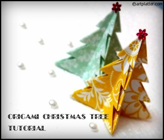 origami christmas tree paper craft pinterest. Black Bedroom Furniture Sets. Home Design Ideas