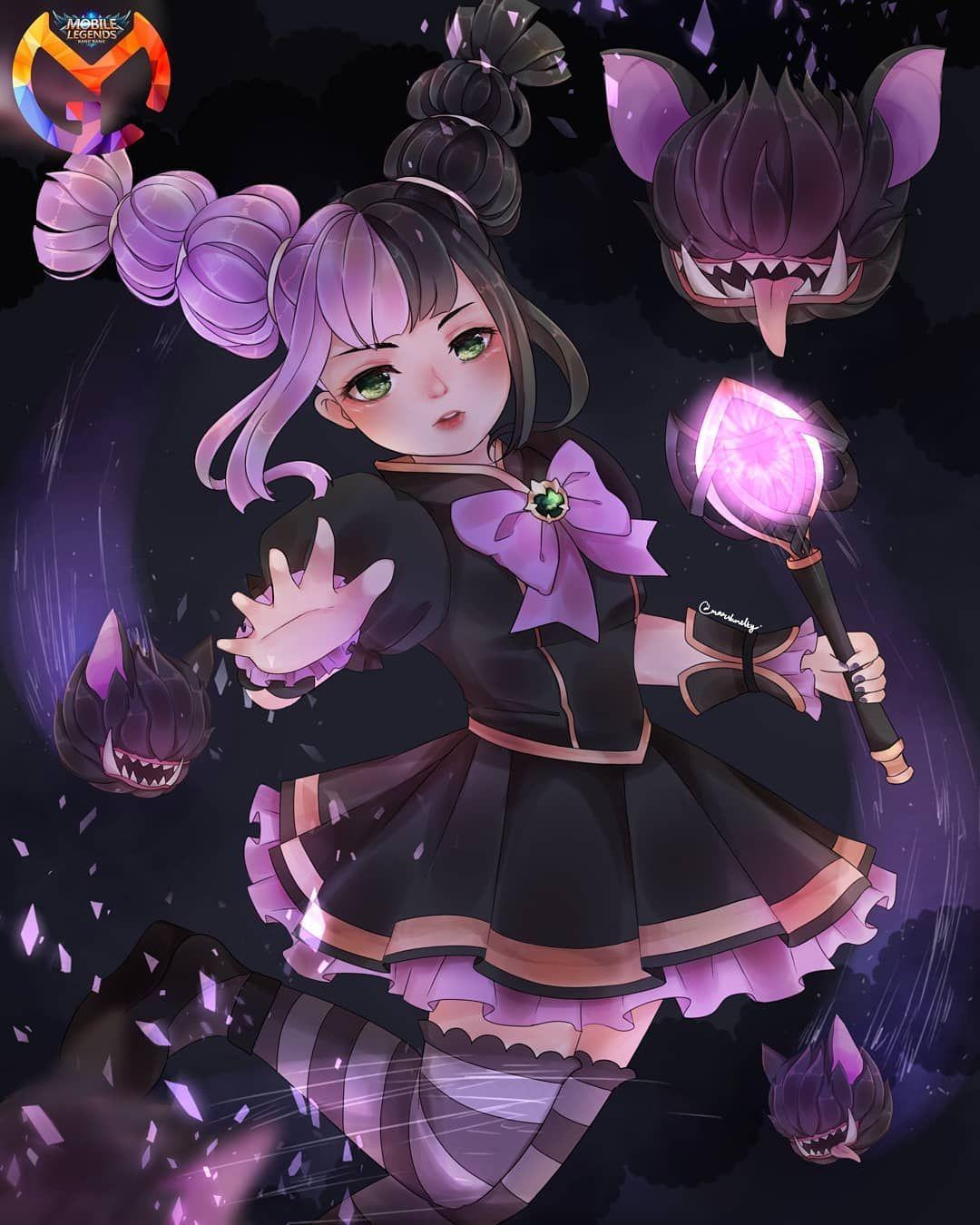 Lylia Uwu Mlbbmgl Mlbbfanart Mgllylia Mlbblylia Lyliamlbb Lylia Cute Witch Purple Goth Artwork Fanar Seni Anime Seni Desain Karakter Game