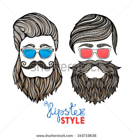 Two hipster hair style men heads with blue and red glasses doodle pictograms abstract vector isolated illustration