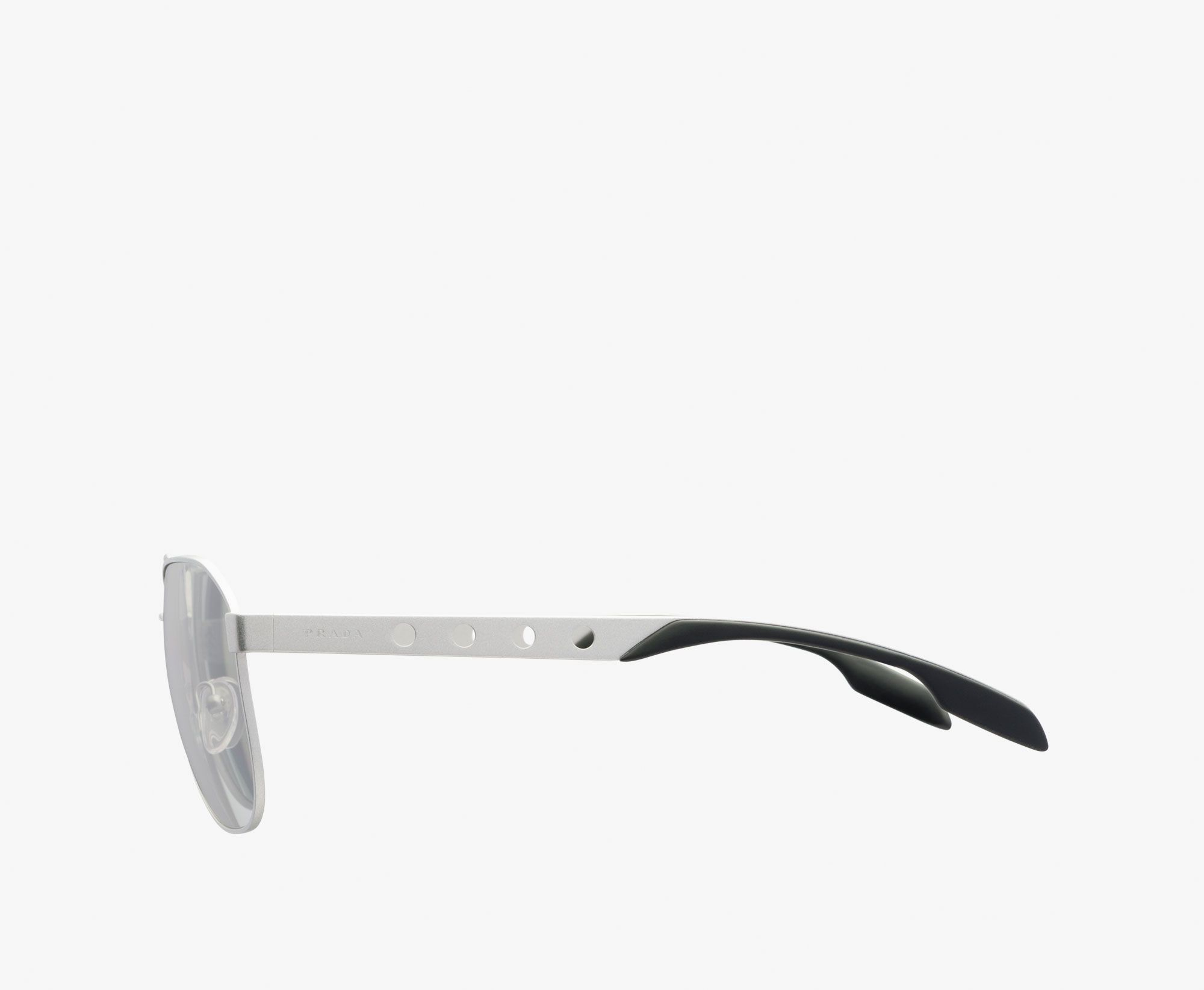 Prada Man Eyewear in Mirror-finish gray lenses $325. Side view. Code: