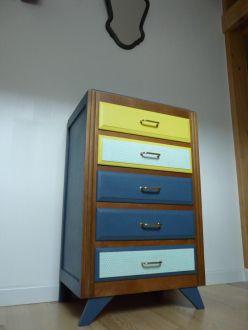 commode annees 50 pied compas bois massif couleur bleu jaune chambre jaune et vintage. Black Bedroom Furniture Sets. Home Design Ideas