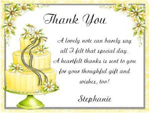 Thank You Quotes For Wedding Shower Gifts : Bridal Shower Thank You Verse Thank You Cards Sayings For...