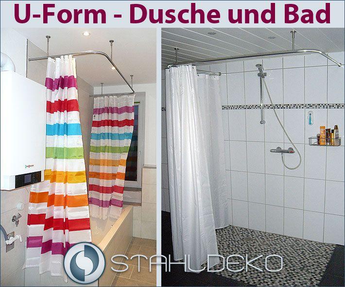 Duschvorhangstange U-Form barrierefrei, für Badewannen oder Dusche ...