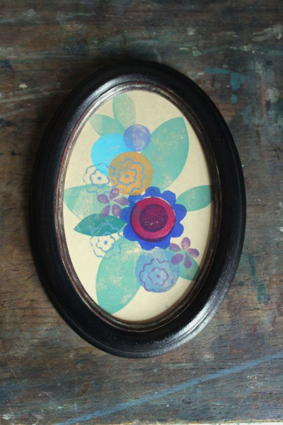 Flower Lino Print in Oval Frame by PegsPrintHouse on Etsy
