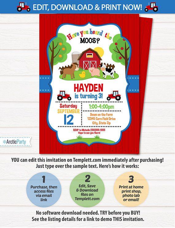 farm invitation farm birthday party barnyard party invitation