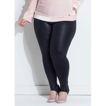 a3ae00125 Calça Legging Plus Size Fuseau em Cirrê Preta Quintess | Moda Plus ...