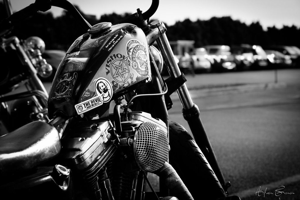 Black and White Harley Davidson