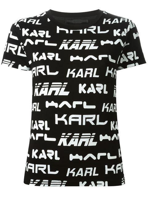 Shoppen Karl Lagerfeld T Shirt Mit Logo Print Von Cumini Aus Den Weltbesten Boutiquen Bei Farfetch Com De In 300 Boutiquen An Einer Ad Karl Lagerfeld Lagerfeld