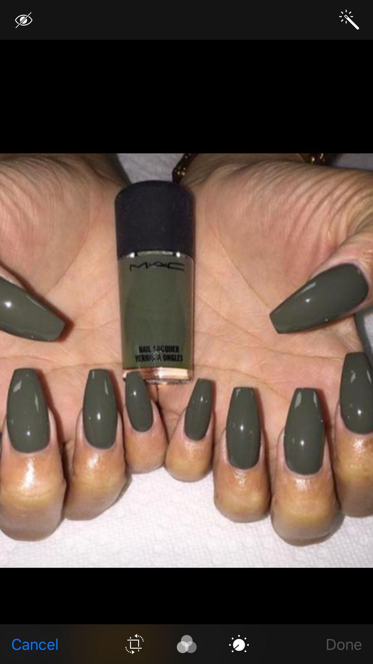Dark Green Acrylic Nails | Best Nail Designs 2018