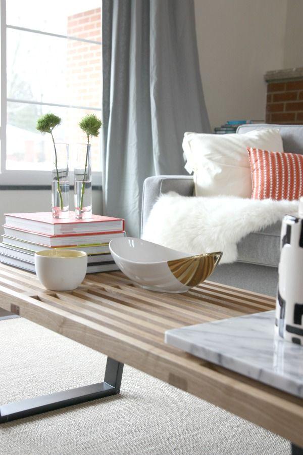 grey, pale wood, and poppy living room Via House Tweaking   styling ...