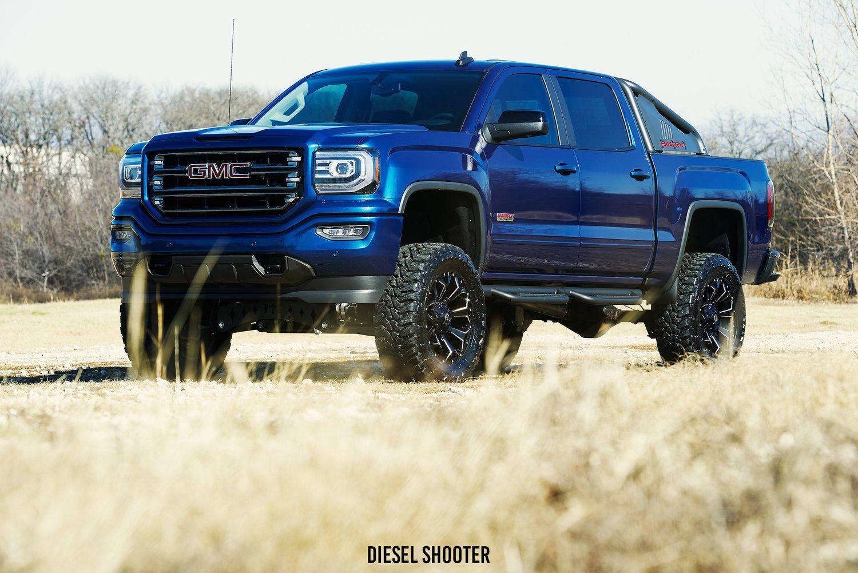 Royal Blue Gmc Sierra On Fuel Off Road Wheels Gmc Trucks Trucks