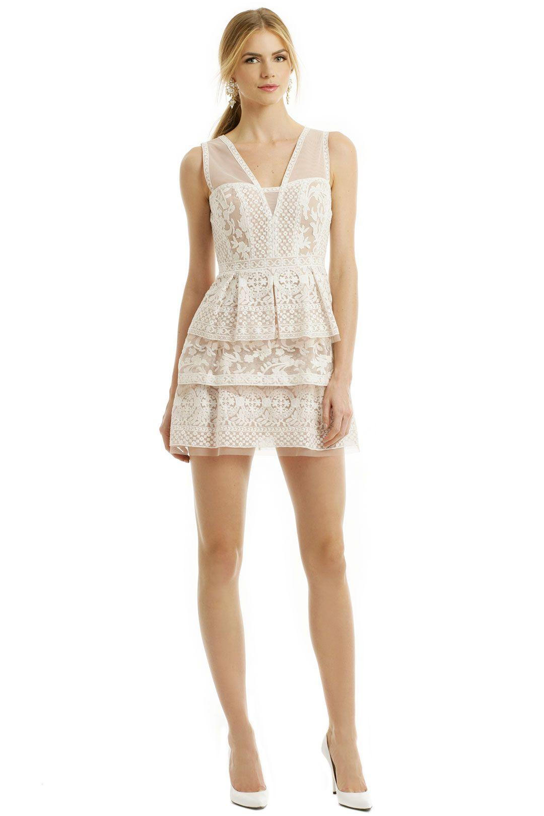 Bcbg yellow grey lace dress