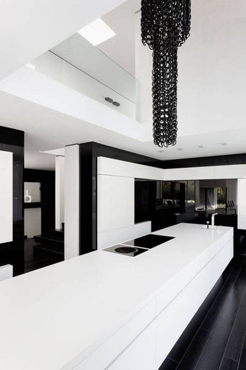 Kitchen Awesome Unique Black White Theme Kitchen Design Ideas