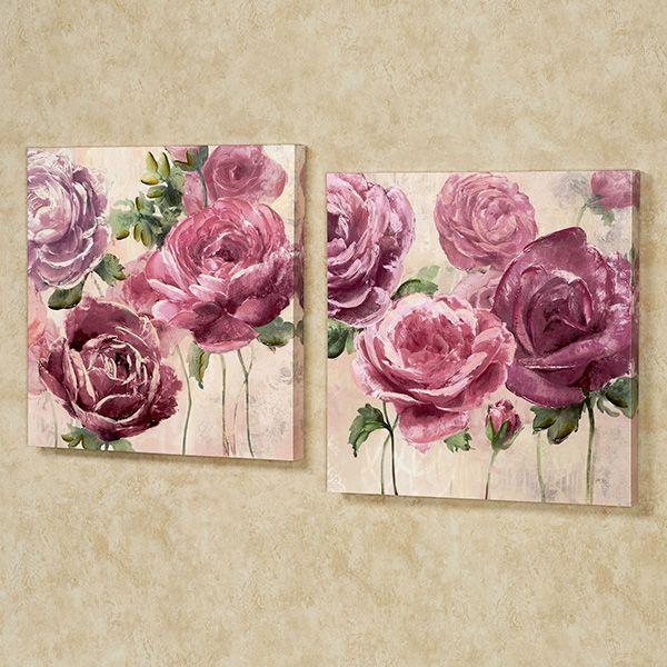 Emma Rose Floral Canvas Wall Art Set Floral Wall Art Canvases Flower Canvas Floral Painting
