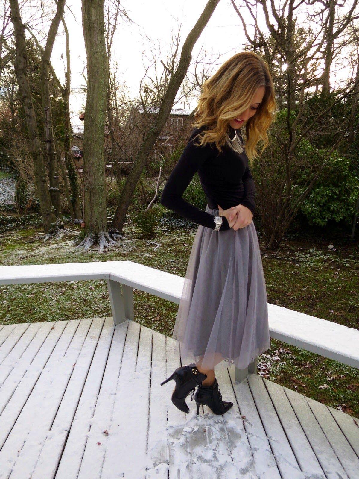d43d894c2e Fashion: Gray Lauren Conrad Tulle Skirt with Black Top | Dress Up ...