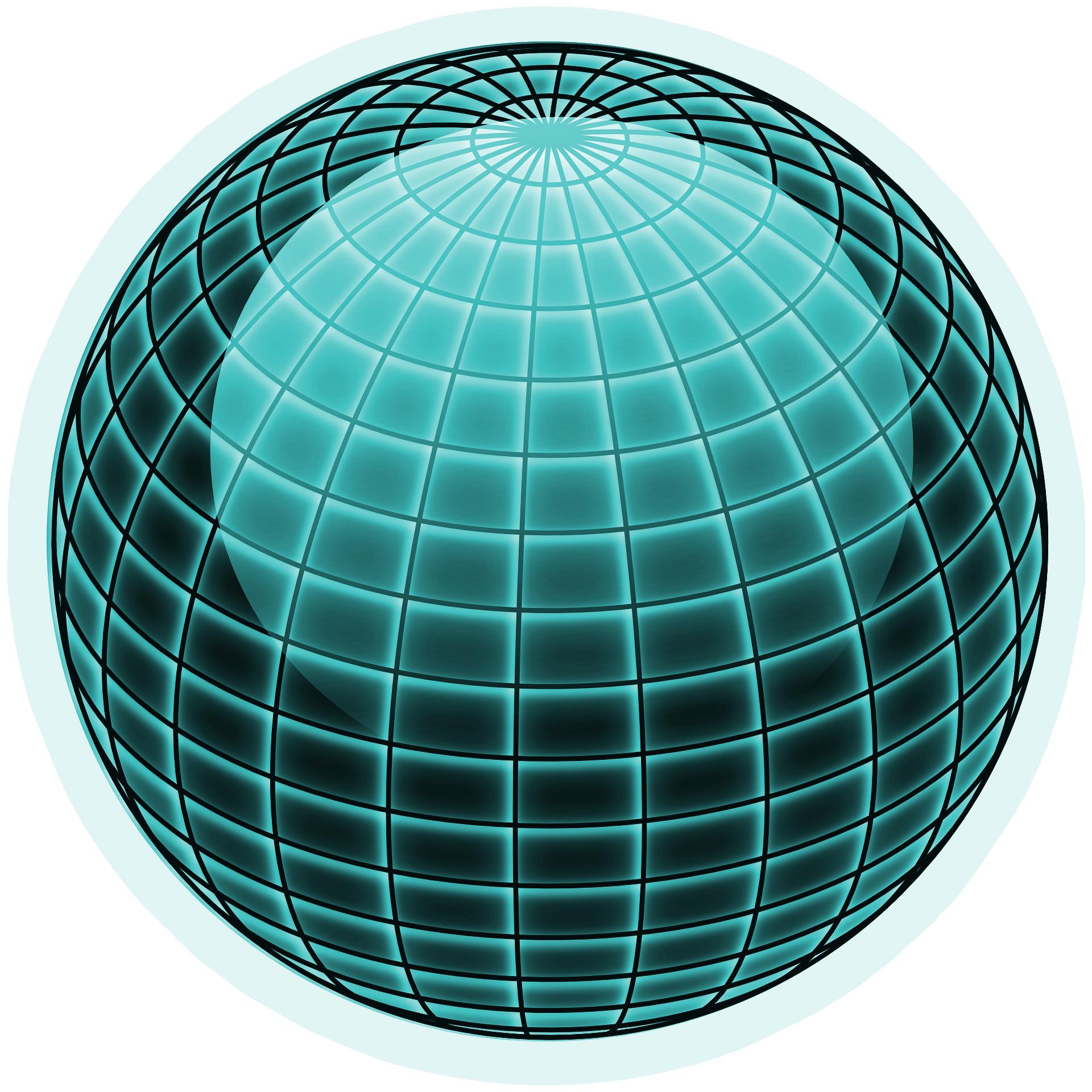 Freebie] Vector cyan globe on transparent background free