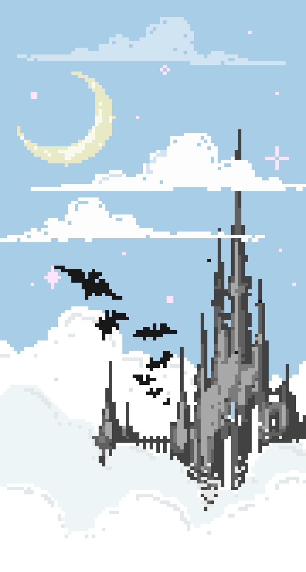 Pastel Pastelgoth Castle Bats Moon Stars Pink Clouds Castlebasas Lilcaste Art Magic Pixelart Pixel Goth Goth Wallpaper Pixel Art Emo Wallpaper