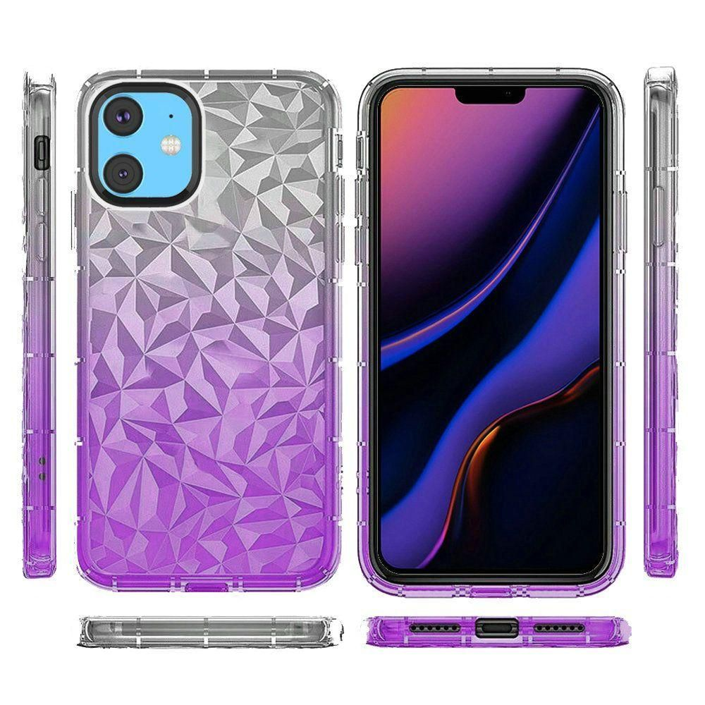 Transparent Diamond Textured Design TPU Case, Purple for Apple iPhone 11