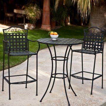 Capri Woven Wrought Iron Bar Height Bistro Set Outdoor 400 x 300