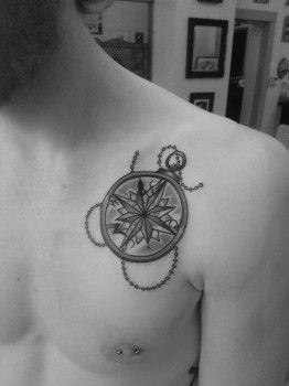 Tatuaje Brujula En Pecho