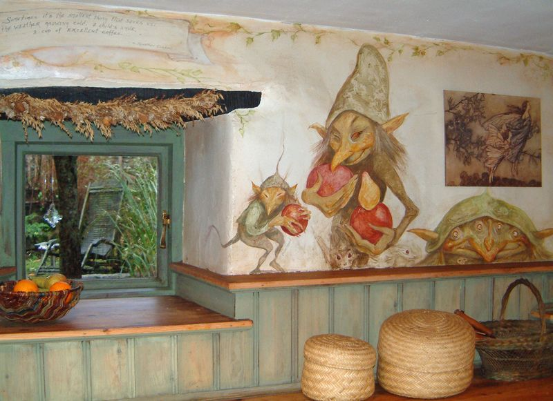 Kitchen fae with their goblin fruits. (Terri Windling's old cottage) I must paint these kinds of images on my walls!!!
