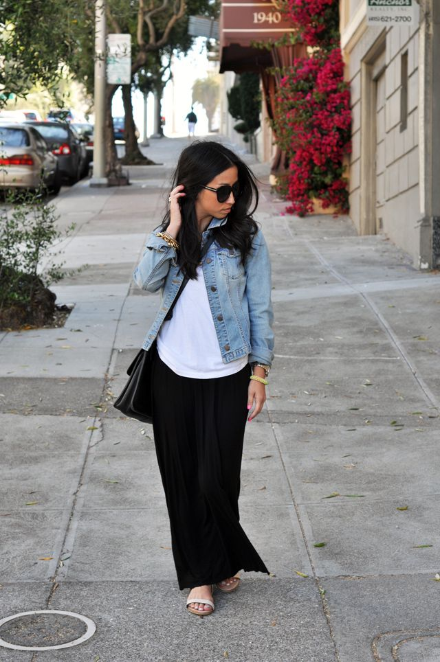 long black maxi dress with white tee over amp denim jacket
