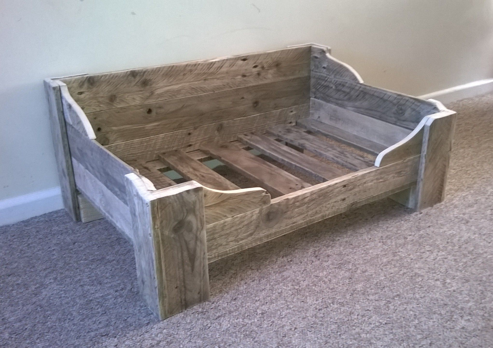 Bespoke dog bed made from reclaimed wood for Wood dog bed furniture