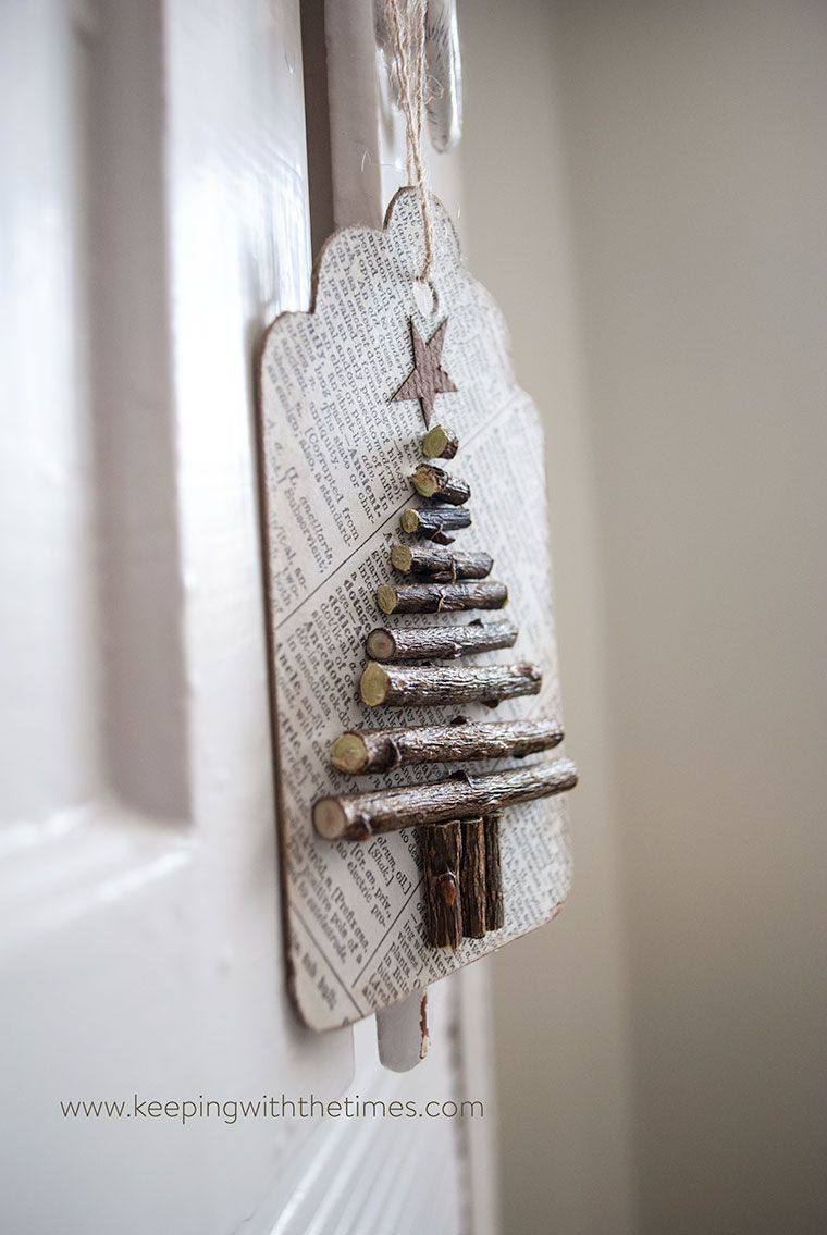 Use old paper dried twigs and a bit of ink to create these cute