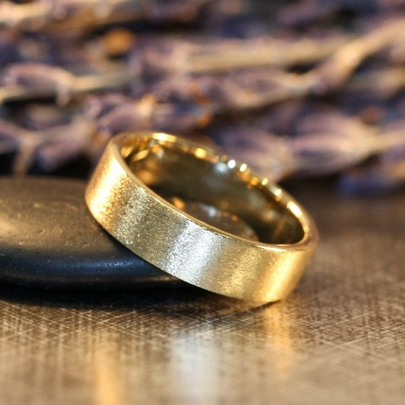 Mens Wedding Ring In 14k Yellow Gold Comfort Fit Band 6mm Flat Matte His Anniversary White Rose Available