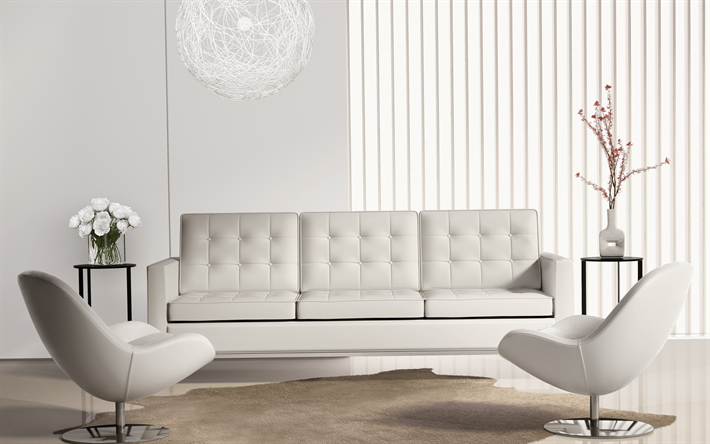 Download Wallpapers Stylish Light Interior Living Room White Leather Sofa Stylish Armchairs Modern Interior Design Besthqwallpapers Com White Leather Sofas Dinning Room Decor Interior