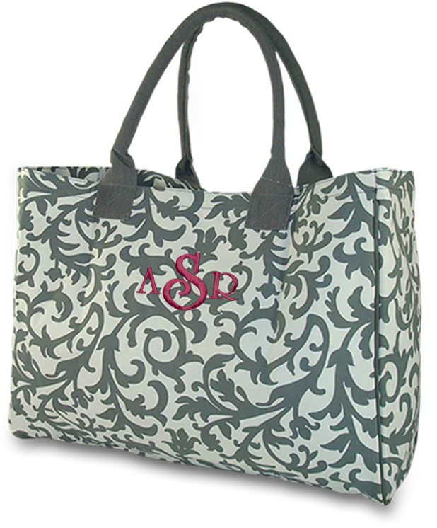 Embroidered Damask Travel Tote - Large Grey