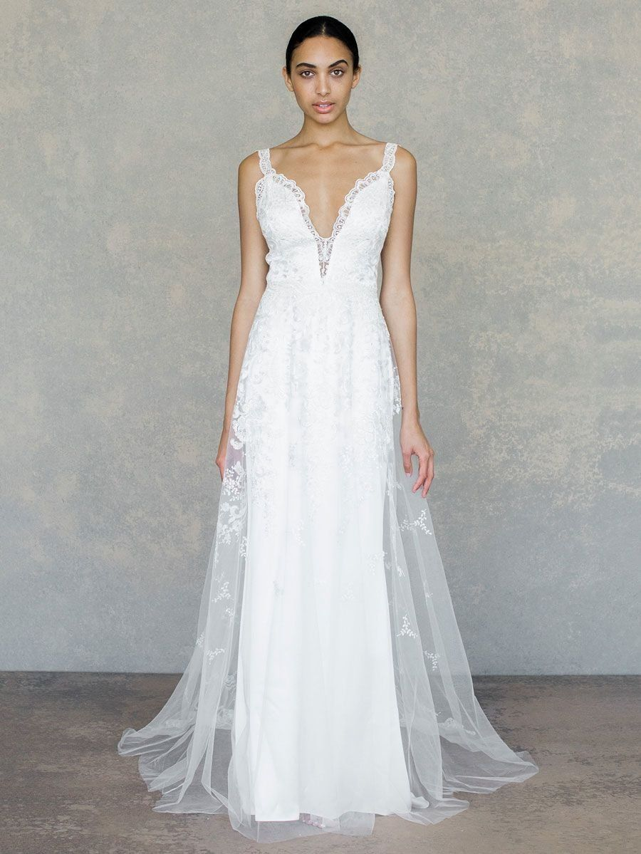 5b94b5f669a Claire Pettibone Spring 2019 embroidered lace wedding dress with lace straps