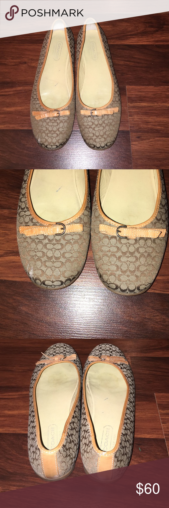 Coach Crystal Flats Coach Crystal Flats with mini signature c. Flaws: leather discoloration on the back heel outside(seen in 4th photo) Coach Shoes Flats & Loafers
