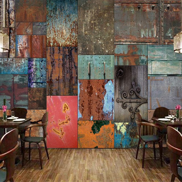Customized size retro european style iron sheet rust mural 3d customized size retro european style iron sheet rust mural 3d wallpaper for bar restaurant cafe store ccuart Images