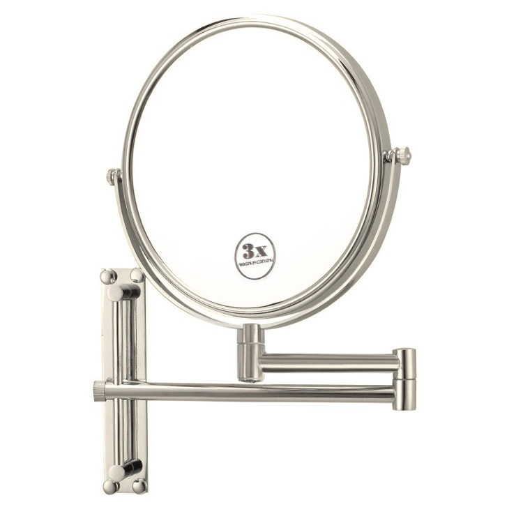 Satin Nickel Round Wall Mounted Double Face 3x Shaving