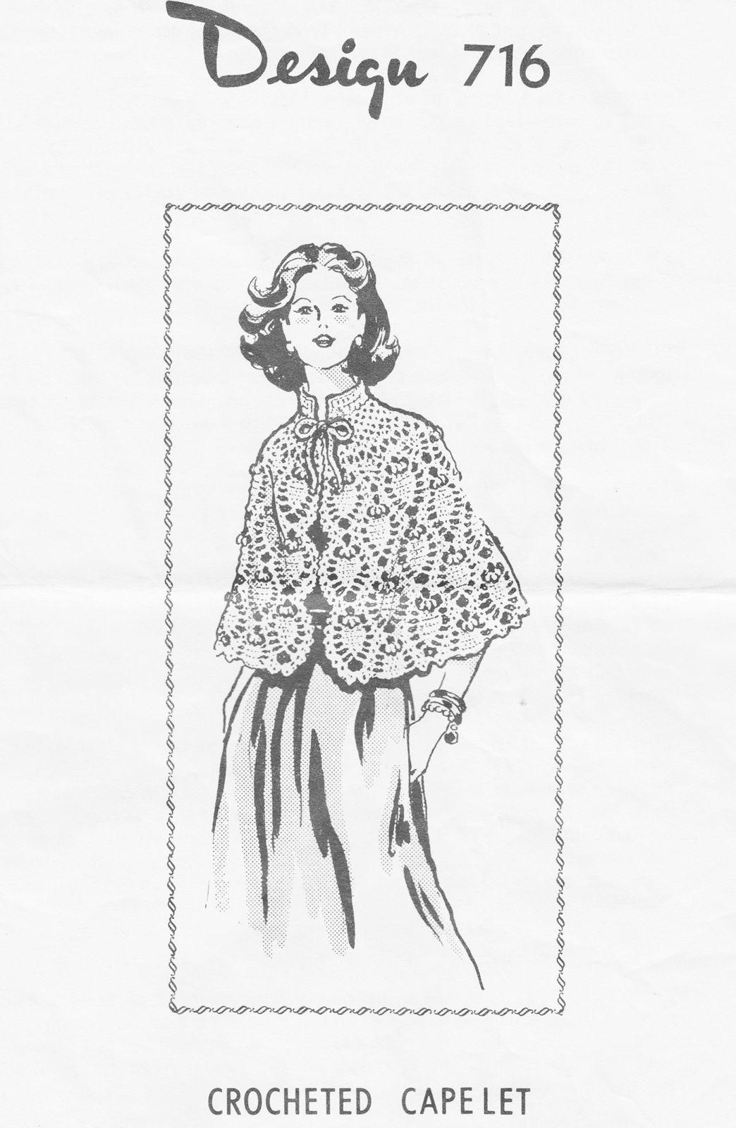 Design 716 Crocheted Pineapple Cape Pattern | Crochet Coats & Capes ...