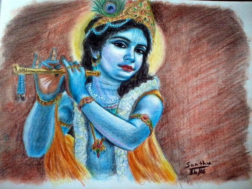 Lord krishna color pencils sketching by santhosh aradhya in my projects at