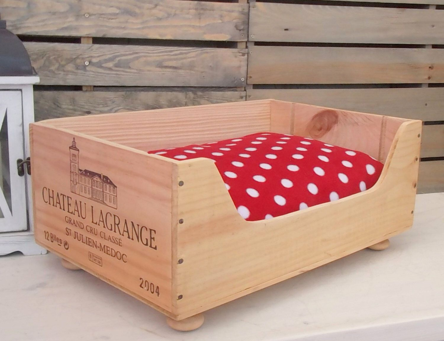 Cat Bed Chateau Lagrange Original French Wine Box Pet Wooden Crate French Style Country Rustic Home Pet Bed By Baxterandsno With Images Wooden Crate Cat Bed