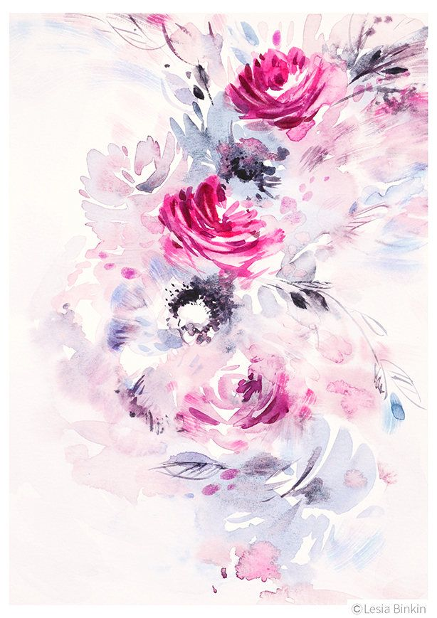 Pink Stream Watercolor Flower Print Abstract Floral Watercolor