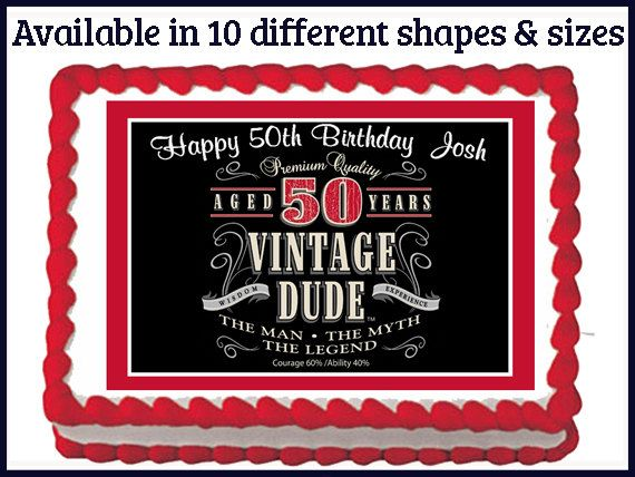 Vintage Dude 50th Milestone Men Adult By Mycaketopperdesigns