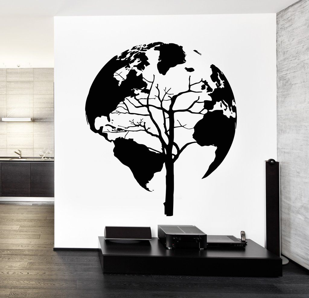 Wall decal world map tree cool abstract vinyl sticker unique gift wall decal world map tree cool abstract vinyl sticker z3248 gumiabroncs Choice Image