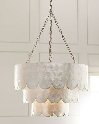 Three tiered scalloped capiz 3 light pendant
