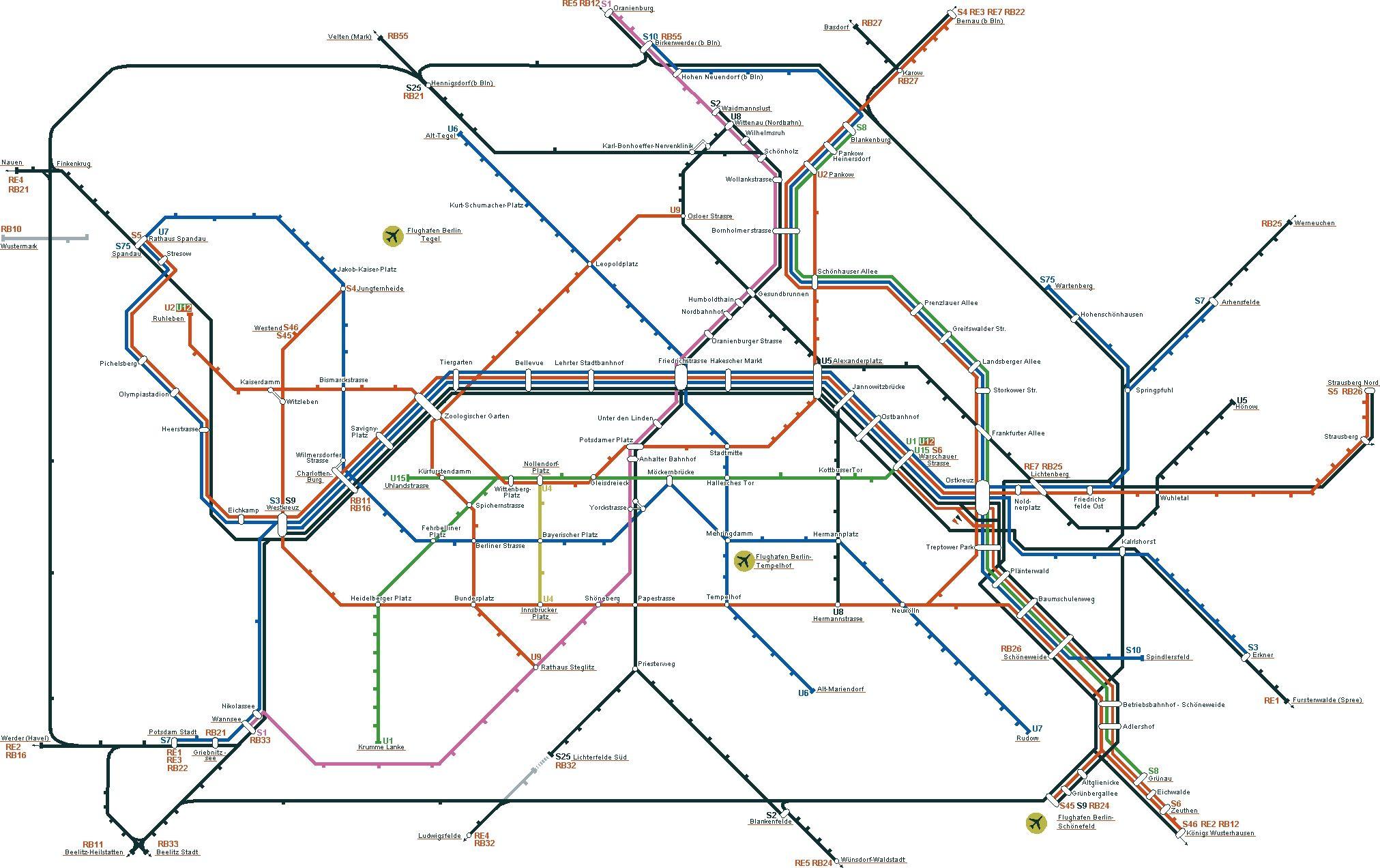 Berlin Germany Subway Transit Map Transit Map Route Map Berlin Germany
